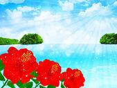 Hibiscus sea landscape — Stock Vector