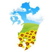 Japan map sunflower — Stock Vector