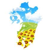 Girasole mappa giappone — Vettoriale Stock