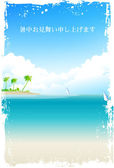 Hot weather sympathy sea landscape — Stock Vector