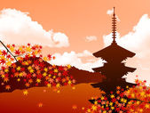 Maple autumn leaves Japan — Stock Vector