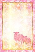 Tarjeta de ovejas cereza año nuevo s — Vector de stock
