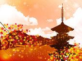 Note maple Kyoto — Stock Vector