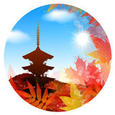 Kyoto maple frame — Stock Vector