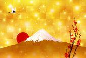 Fuji sunrise background — Stock Vector