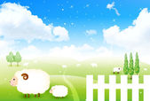 Sheep greeting cards background — ストックベクタ
