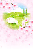Sheep greeting cards background — Stock Vector