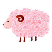 Sheep cherry greeting cards — Stock Vector