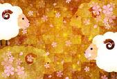 Sheep greeting cards background — 图库矢量图片