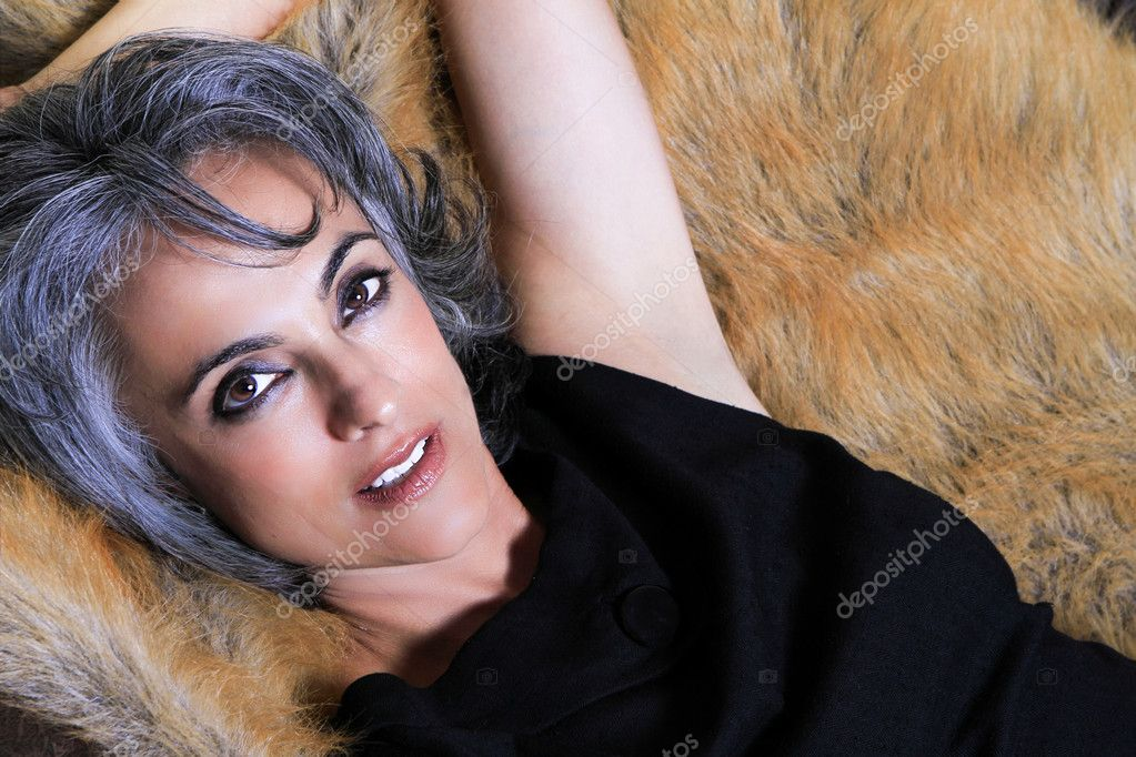 Beautiful woman with gray hair stock photo deborahkolb for Gorgeous in gray