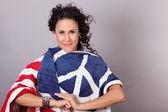 Beautiful Brunette Patriotic Woman — Stock Photo
