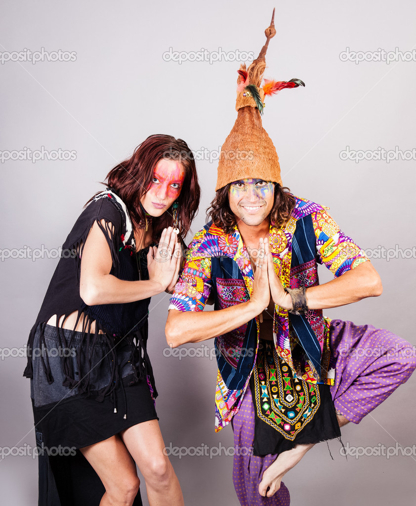 Happy Cute Couple dancing in costumes — Stock Photo #12783112