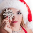 Beautiful Blonde Santa with Snowflake — Stock Photo
