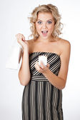 Pretty Woman with a Gift — Stock Photo