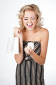Ecstatic Woman with a Gift — Stockfoto