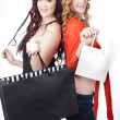 Beautiful Twin Sisters shopping — Stock Photo