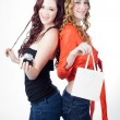 Beautiful Twin Sisters with Gifts — Stock Photo #13947915
