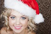 Beautiful Woman wearing a Santa Hat — Stock Photo