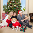 Family Christmas in Pajamas — Stock Photo