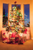 Christmas tree in the morning — Stock Photo