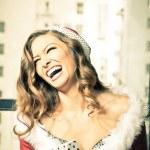 vacker kvinna vintage färg vid jul — Stockfoto