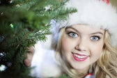 Bright eyed young girl peaking around Xmas tree — Stock Photo