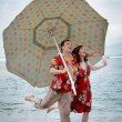 Royalty-Free Stock Photo: Funny Newlyweds in Hawaii