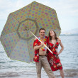 Stock Photo: Funny Newlyweds in Hawaii