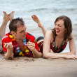 Beached Couple in Paradise — Stock Photo
