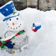 Snowman with a smile - Stockfoto