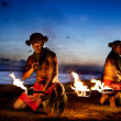 Two Hawaiian Men ready to Dance with Fire - Stock Photo