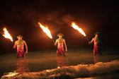 FIre Dancers in the Hawaiian islands at night — Stock Photo