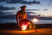 Male Fire Dancer in Hawaii — Stock Photo