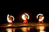 Hawaiian FIre Dancers in the Ocean — Stock Photo