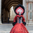 Venetian Carnival Maked Woman St Mark's Square - Stock Photo