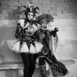 Jesters in Venice Italy black and white image - Stock Photo