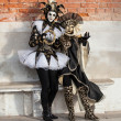 Two women wearing costumes in Venice Italy — Stock Photo