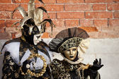 Closeup of a Jester and costumed woman Venice Italy — Stock Photo