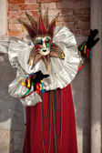 Venetian Carnival Maked Man as a harlequin — Stock Photo