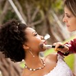 Beautiful Bride and Friend — Stock Photo