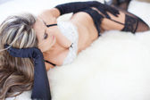 Hot Beautiful woman wearing sexy black gloves — Stock Photo