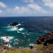 Maui coast line with aLanai in the background - Stock Photo
