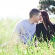 A couple kissing in the meadow — Stock Photo