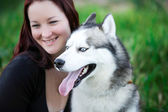 Siberian Husky dog outdoors — Stock Photo