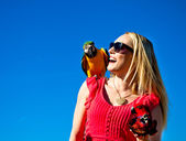 Beautiful Woman with Macaw Parrots — Stock Photo