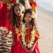 Young pretty Hula dancers — Stock Photo