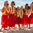 Stock Photo: Polynesian Hula girls in Friendship at the ocean