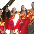 Polynesian Hula girls  in Friendship - Stock Photo