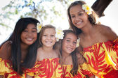 Polynesian Hula girls in Friendship — Stock Photo