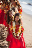 Young pretty Hula dancers — Stockfoto